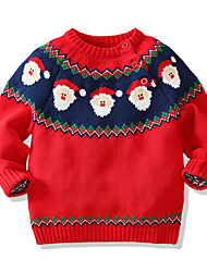 cheap -Kids Boys' Sweater Long Sleeve Santa Claus Red Children Tops Fall Winter Active Daily Indoor Outdoor Christmas Regular Fit 1-5 Years