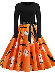 cheap -Women's Swing Dress Knee Length Dress Black Long Sleeve Skull Bat Pumpkin Shaped Bow Print Fall Winter Round Neck Vintage Christmas Halloween 2021 S M L XL XXL