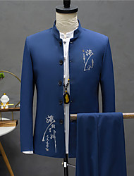 cheap -Men's Special Occasion Birthday Suits 2 pcs Mandarin Standard Fit Single Breasted More-button Solid Colored Patterned Polyester
