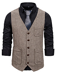 cheap -Men's Vest Business Daily Fall Winter Regular Coat Single Breasted One-button V Neck Regular Fit Thermal Warm Windproof Warm Business Streetwear Jacket Sleeveless Plain Pocket Patchwork Dark Grey