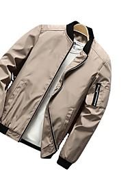 cheap -Men's Jacket Street Daily Going out Fall Regular Coat Zipper Stand Collar Regular Fit Breathable Sporty Casual Jacket Long Sleeve Plain Full Zip Pocket Khaki Green Black / Outdoor