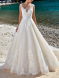 cheap -A-Line Wedding Dresses V Neck Court Train Lace Tulle Sleeveless Country Romantic Luxurious with Appliques 2021