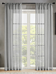 cheap -Window Curtain Window Treatments Semi Sheer White 2 Panels Sheer Voile Grommet Solid color for Living Room Bedroom