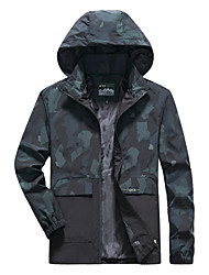 cheap -Men's Jacket Trench Coat Street Daily Going out Fall Spring Regular Coat Zipper Hoodie Regular Fit Warm Breathable Sporty Casual Jacket Long Sleeve Plain Camo / Camouflage Full Zip Pocket Lake blue