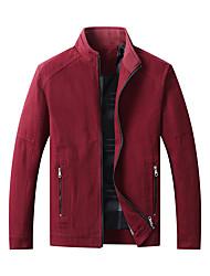cheap -Men's Jacket Street Daily Going out Fall Winter Regular Coat Zipper Stand Collar Regular Fit Warm Breathable Sporty Casual Jacket Long Sleeve Plain Full Zip Pocket Wine Khaki Black / Outdoor
