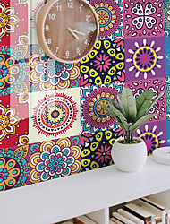 cheap -12pcs 15*15CM Thickened Tile Self-adhesive Paper Color Mandala Kitchen Oil-proof And Waterproof Removable Wall Stickers