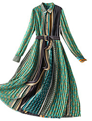 cheap -Women's A Line Dress Maxi long Dress Green Long Sleeve Leopard Print Patchwork Print Fall Winter Shirt Collar 1920s Elegant Vintage 2021 S M L XL XXL