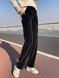 cheap -Women's Fashion Streetwear Comfort Chinos Casual Weekend Pants Plain Full Length Pocket Elastic Waist Black Beige / Fleece Lining