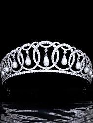 cheap -Hair Accessories Royal Queen Crown Zircon Wedding Headdress Retro Dress Wedding Accessories Pearl Crown