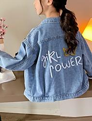 cheap -Kids Girls' Jacket Coat Long Sleeve Blue Letter Pocket Denim Active 3-13 Years / Fall / Short