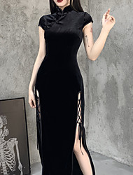 cheap -Sheath / Column Vintage Sexy Halloween Party Wear Dress High Neck Short Sleeve Ankle Length Polyster with Split 2021