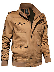 cheap -Men's Jacket Street Daily Going out Fall Regular Coat Zipper Stand Collar Regular Fit Thermal Warm Breathable Sporty Casual Jacket Long Sleeve Plain Pocket Army Green Khaki Black / Outdoor
