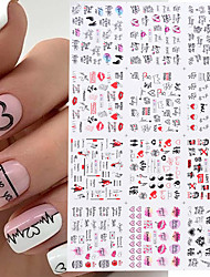 cheap -36pcs Valentines Manicure Love Letter Flower Sliders for Nails Inscriptions Nail Art Decoration Water Sticker Tips