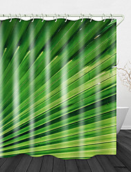 cheap -Green Leaf Printed Waterproof Fabric Shower Curtain Bathroom Home Decoration Covered Bathtub Curtain Lining Including Hooks.