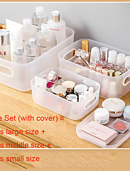 cheap -3Pcs Cosmetic Storage Box Table Top Small With Lid Dresser Face Mask Skincare Products Plastic Finishing