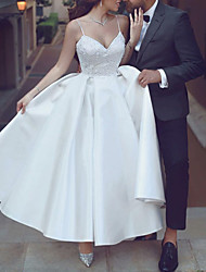 cheap -A-Line Wedding Dresses V Neck Spaghetti Strap Ankle Length Lace Satin Sleeveless Romantic Sexy Little White Dress with Appliques 2021