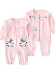 cheap -Baby Girls' Jumpsuits Active Basic Outdoor Cotton White Beige Unicorn Print Animal Print Long Sleeve / Fall / Spring