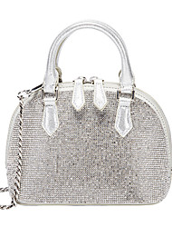 cheap -Women's Bags PU Leather Dome Bag Crystals Chain Rhinestone Daily Office & Career Evening Bag Handbags Chain Bag Silver