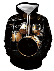 cheap -Men's Pullover Hoodie Sweatshirt Graphic Musical Instrument Print Hooded Casual Daily 3D Print Casual Streetwear Hoodies Sweatshirts  Long Sleeve Black