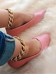 cheap -Women's Flats Flat Heel Pointed Toe PU Solid Colored Pink Black