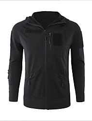 cheap -Men's Raincoat Shell Jacket Outdoor Hiking Fall Winter Regular Coat Zipper Hoodie Regular Fit Waterproof Lightweight Sporty Casual Jacket Long Sleeve Solid Color Quilted Black