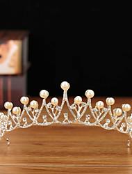 cheap -Luxury Bridal Pearl Rhinestone Crown Princess Headdress Sweet Hair Accessories Wedding Birthday Party Accessories