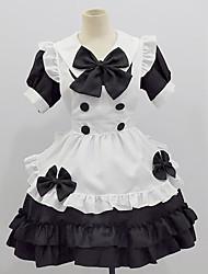 cheap -Lolita Punk Ōji Lolita (Boystyle) Maid Uniforms Cosplay Costume Women's Japanese Cosplay Costumes Black Solid Color Short Sleeve Medium Length / Dress / Apron