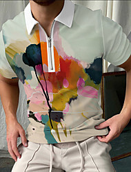 cheap -Men's Golf Shirt Rendering Zipper Print Short Sleeve Street Tops Sportswear Casual Fashion Breathable Light Green