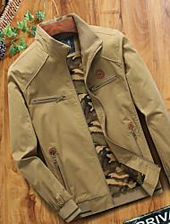 cheap -Men's Jacket Street Daily Going out Fall Regular Coat Zipper Stand Collar Regular Fit Breathable Sporty Casual Jacket Long Sleeve Plain Full Zip Pocket Khaki Green / Outdoor
