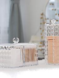 cheap -2PCS Cotton Storage Box Makeup Organizer Transparent Diamond Pattern Plastic Box Acrylic Bathroom Accessories Cotton Swabs Dustproof