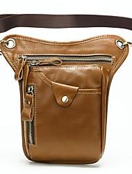 cheap -Men's Bags Nappa Leather Cowhide Fanny Pack Zipper Daily Bum Bag Messenger Bag Gray Black Brown