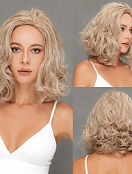cheap -Blonde Synthetic Wig Curly Afro Curly Middle Part Wig 16 inch Light golden Synthetic Hair for Women Grils  Durable High Tempereature Free Cap