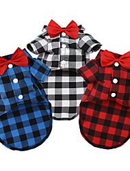 cheap -Dog Shirt / T-Shirt Puppy Clothes Plaid / Check Fashion Casual Daily Dog Clothes Puppy Clothes Dog Outfits Black / White Red Blue Costume for Girl and Boy Dog Terylene S M L XL