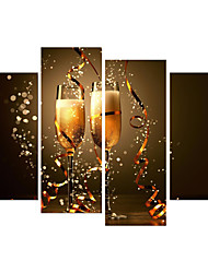 cheap -4 Panels Wall Art Canvas Prints Painting Artwork Picture Wine Glass Painting Home Decoration Decor Rolled Canvas No Frame Unframed Unstretched