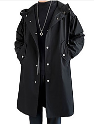 cheap -Men's Trench Coat Street Daily Fall Spring Long Coat Single Breasted One-button Hoodie Regular Fit Thermal Warm Breathable Casual Jacket Long Sleeve Solid Color Pocket Khaki Black