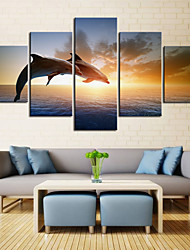 cheap -5 Panels Wall Art Canvas Prints Painting Artwork Picture Landscape Dolphin Sea Home Decoration Decor Rolled Canvas No Frame Unframed Unstretched