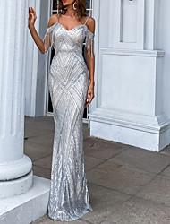 cheap -Sheath / Column Sparkle Sexy Party Wear Formal Evening Dress Spaghetti Strap Sleeveless Floor Length Sequined with Tassel 2021