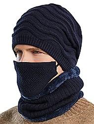 cheap -winter hat men beanie with mask scarf warm 3 piece set slouchy skull cap soft comfortable knit beanie hats (navy blue, medium)