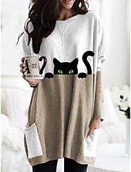 cheap -Women's Cat T shirt Dress T shirt Cat Animal Long Sleeve Pocket Print Round Neck Basic Tops Blue Blushing Pink Khaki / 3D Print