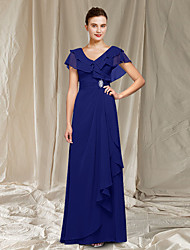 cheap -A-Line Mother of the Bride Dress Elegant V Neck Floor Length Chiffon Sleeveless with Ruched Ruffles Crystal Brooch 2021