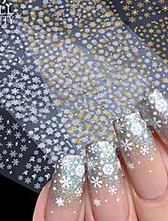 cheap -12pcs Snowflake Nail Art Stickers 3D Christmas Designs Adhesive Sliders For Nails Foil Decals Manicure Decorations