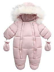 cheap -Baby Boys' Jumpsuits Active Indoor Blushing Pink White Red Line Striped Solid Color Fur Trim Long Sleeve / Fall / Winter
