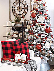 cheap -A Pair Of Christmas Style Red And Black Lattice Pillow Cover Polyester Cotton Cushion Cover Furniture Decoration Products