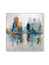 cheap -Oil Painting Handmade Hand Painted Wall Art Square Modern City Building Landscape Home Decoration Decor Rolled Canvas No Frame Unstretched