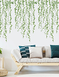 cheap -Green Leaves Plants Wall Stickers Bedroom Living Room Removable Pre-pasted PVC Home Decoration Wall Decal 2pcs