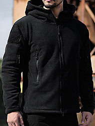 cheap -Men's Teddy Coat Polar Fleece Outdoor Jacket Daily Holiday Fall Winter Regular Coat Zipper Stand Collar Regular Fit Warm Casual Streetwear Jacket Long Sleeve Solid Color Quilted Pocket Gray Khaki