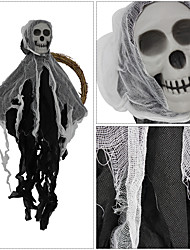 cheap -2pcs Halloween Doorbell Horror Decoration Products Layout Props Halloween Haunted House Skeleton Ghost Wreath Door Hanging