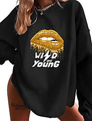 cheap -Women's Sweatshirt Pullover Text Lip Print 3D Print Daily Sports Hot Stamping Cotton Streetwear Oversized Hoodies Sweatshirts  Loose Gray Black
