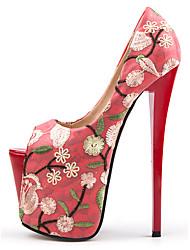 cheap -Women's Heels Stiletto Heel Peep Toe Party Wedding Synthetics Color Block Almond Red