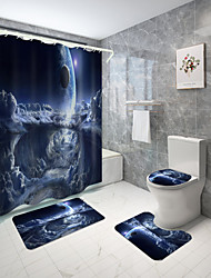 cheap -Star Universe Series Digital Printing Four-piece Set Shower Curtains and Hooks Modern Polyester Machine Made Waterproof Bathroom